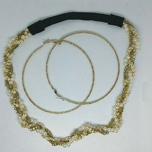 Multistrand Gold Pearl & Chain Necklace & Earrings